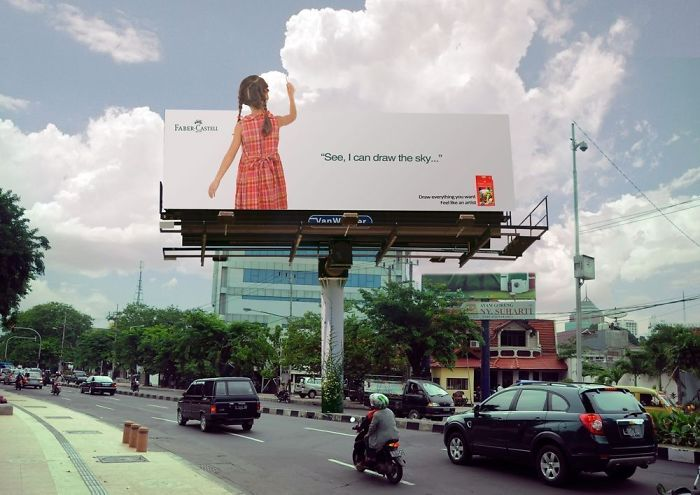 بیلبورد تبلیغاتی کاستل   مداد رنگی   آیمارکتور