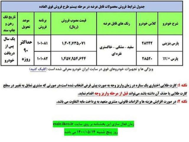 بخشنامه فروش فوق العاده مرحله بیستم ایران خودرو