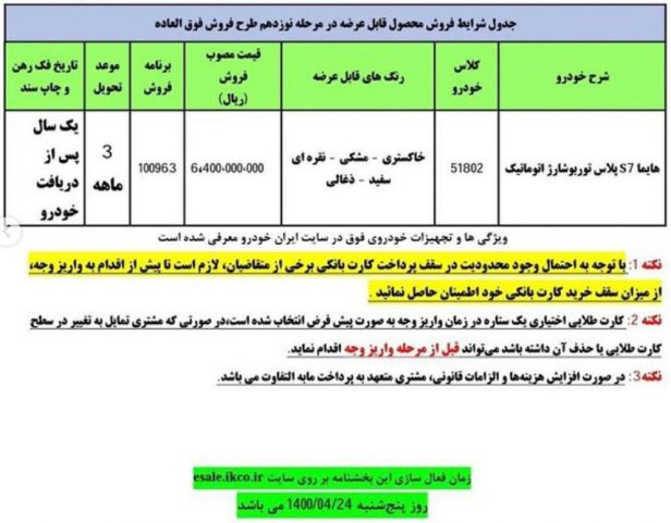 بخشنامه فروش فوق العاده مرحله نوزدهم ایران خودرو