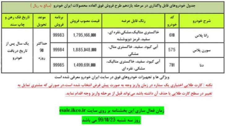بخشنامه فروش فوق العاده مرحله یازدهم ایران خودرو