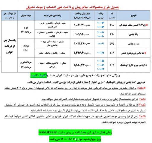 پیش فروش یک ساله ابتدای مرداد 1400 ایران خودرو
