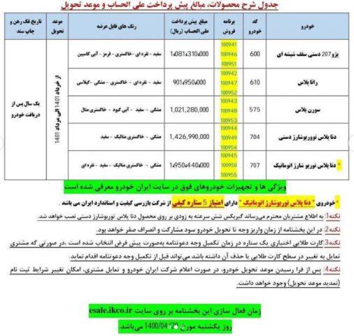 پیش فروش یک ساله تیر 1400 ایران خودرو