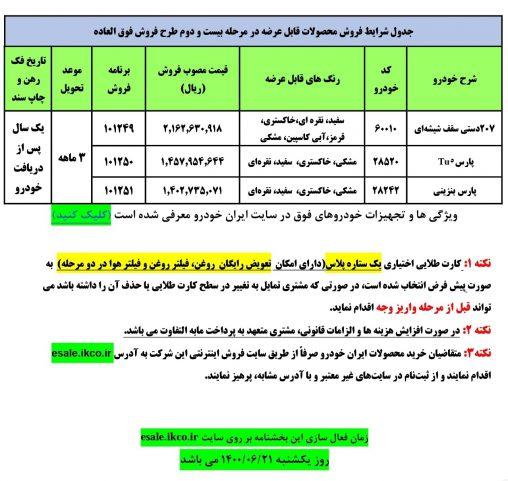 بخشنامه فروش فوق العاده ایران خودرو مرحله بیست و دوم